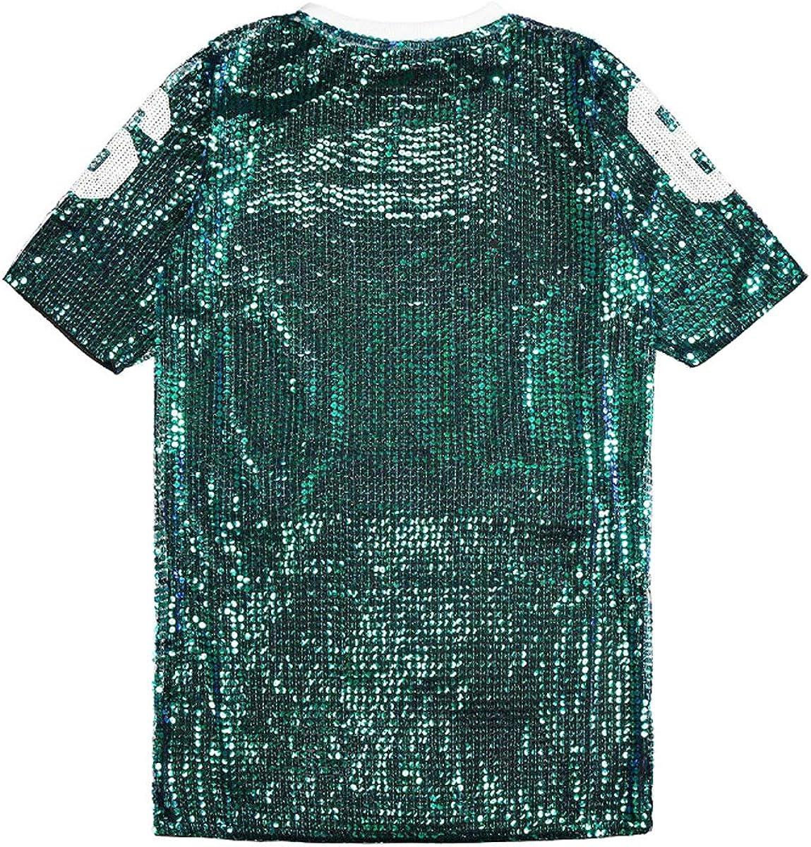 JLTPH T-Shirt D/écontract/é pour Femme Lettres Impression Costumes De Discoth/èque Costume de Danse de Rue Hip hop Jazz Performance Team Top
