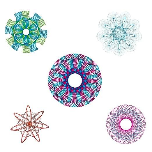 MC CHENMEI Spirograph Set Espirógrafo Conjunto Espiral Dibujo Engranaje del diseño del Arte Set 27 jugadas y 5 lápices de Colores y sacapuntas y 5 Idiomas ...
