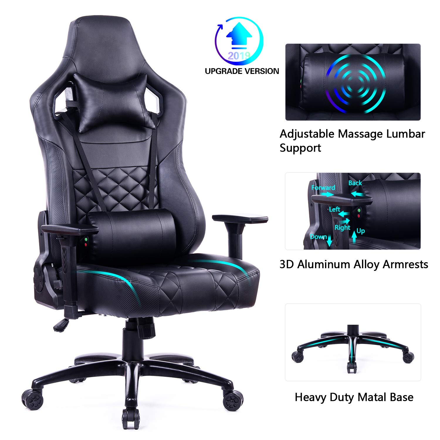 Blue Whale Big and Tall Gaming Chair with Massage Lumbar Support,Matel Base and 3D Aluminum Alloy Armrest Racing PC Computer Video Game Chair High Back PU Leather Office Desk Chair with Headrest Black by Blue Whale