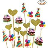 SHAN RUI 24pcs birthday Cupcake Topper Gold Glitter Heart Large Cupcake Toppers birthday hat cake and balloon Cupcake Toppers Food Fruit Picks for Birthday Baby Showers Event Party Wedding Decoration
