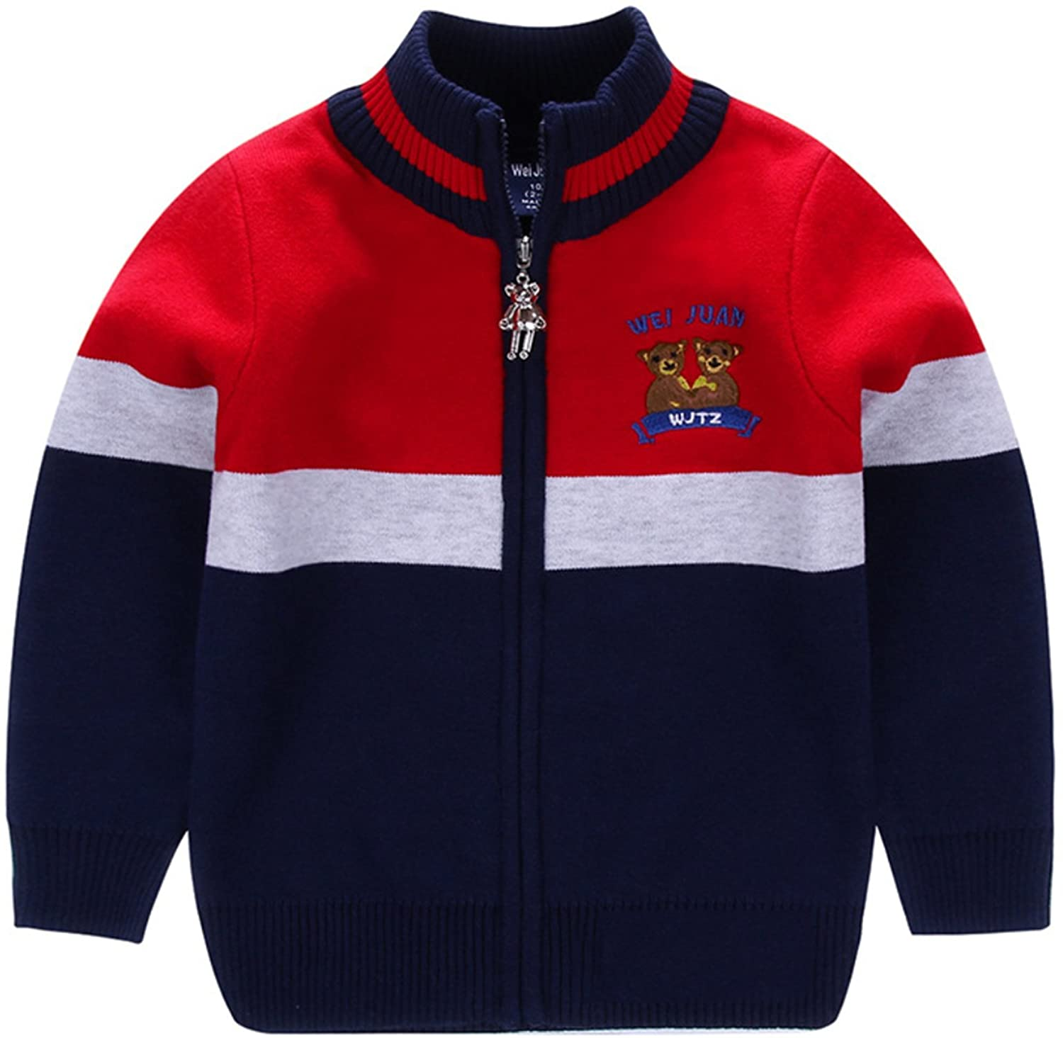 AUIE SAOSA Little Boys Spring and Autumn Stripe Knitted Cotton Coat zipper Cardigan Sweater