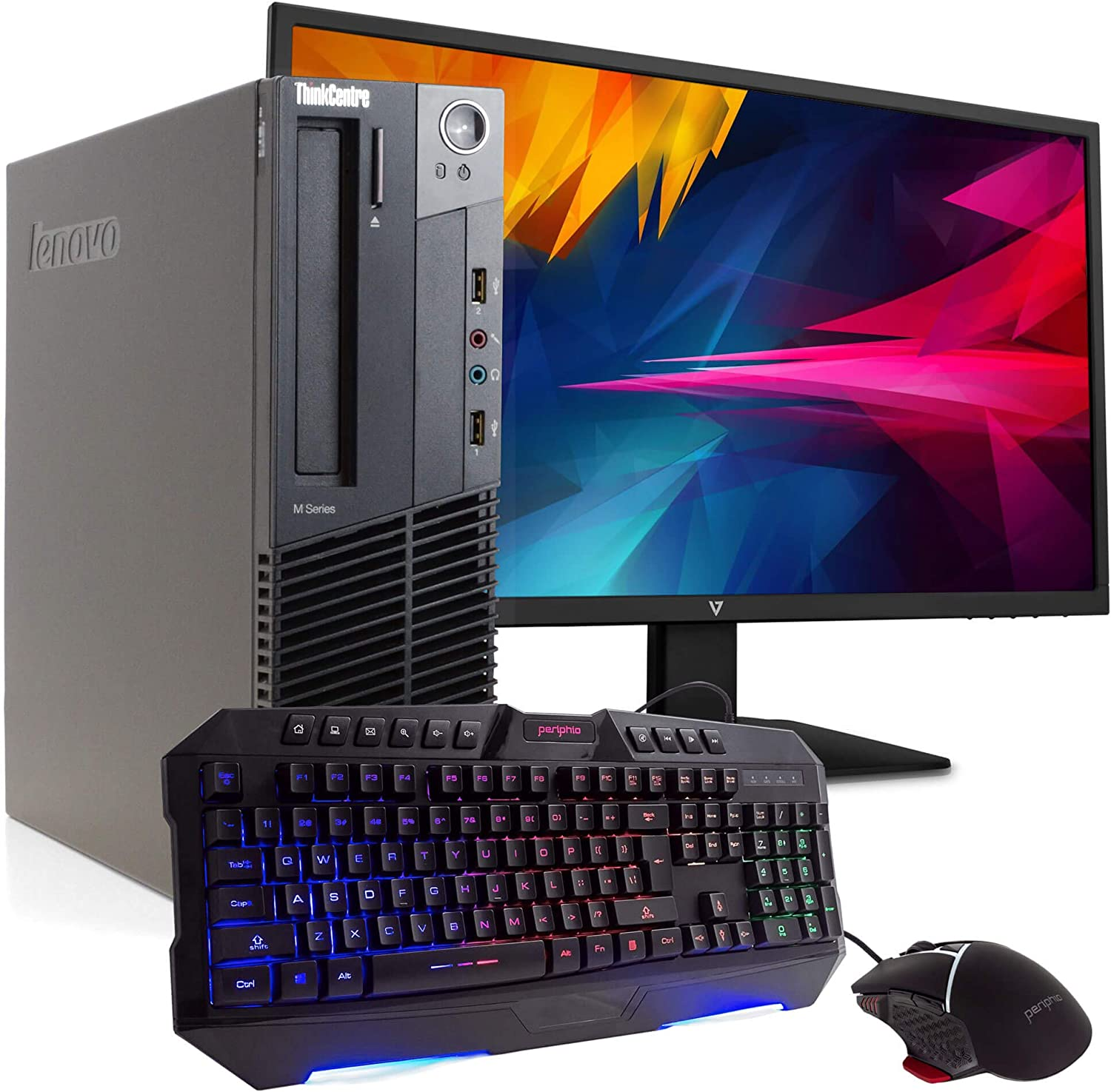 "Lenovo ThinkCentre M92P PC Desktop Computer, Intel i5-3470 3.2GHz, 8GB RAM, 500GB HDD, Windows 10 Pro, New 23.6"" FHD V7 LED Monitor, New Periphio Keyboard & Mouse, New 16GB Flash Drive, WiFi (Renewed)"