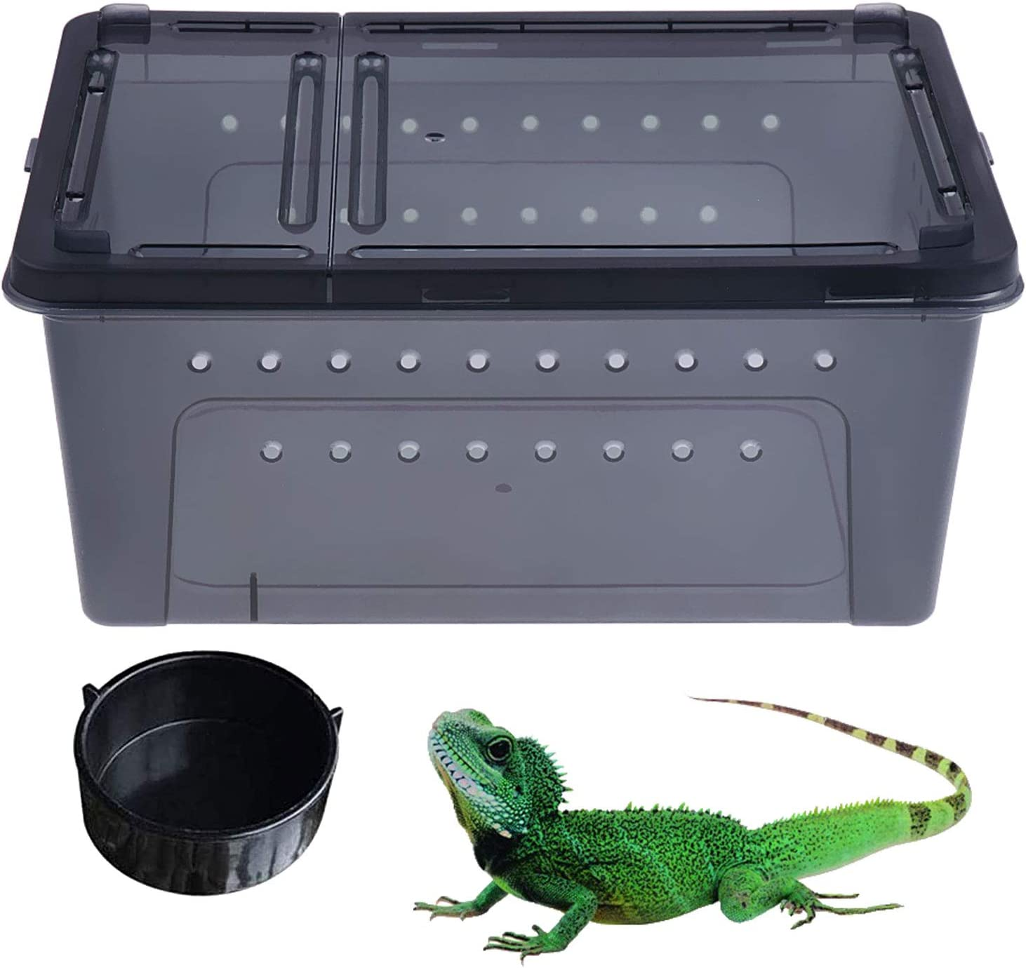 kathson Reptile Snake Feeding Box Breeding Hatching Container Lizard Tarantula Habitat Portable Transparent Plastic Mini Pet Houses for Spider Scorpion Gecko