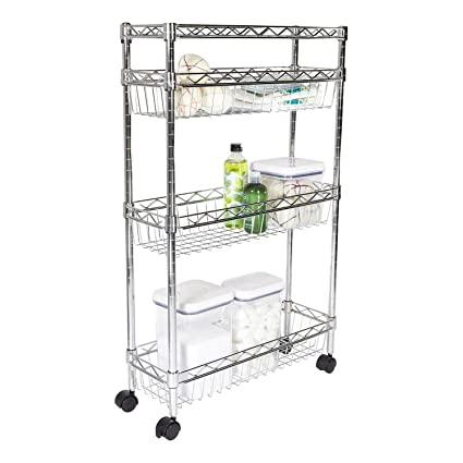 Exceptionnel Storables Premium Steel Slim Laundry Supply Cart, Chrome