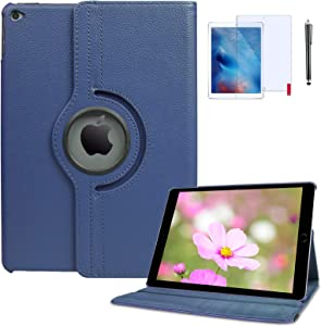 iPad 4th Generation Case with Screen Protector and Stylus 360 Degree Rotating Stand Protective Hard-Cover Folding Case with Auto Wake/Sleep Feature for 2nd/3rd/4th 9.7