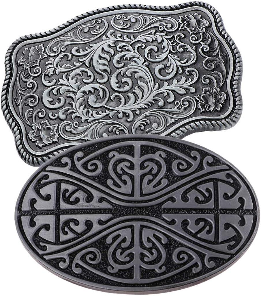2x Vintage Western Rodeo Cowboy Belt Buckle Celtic Pattern Mens Accessories