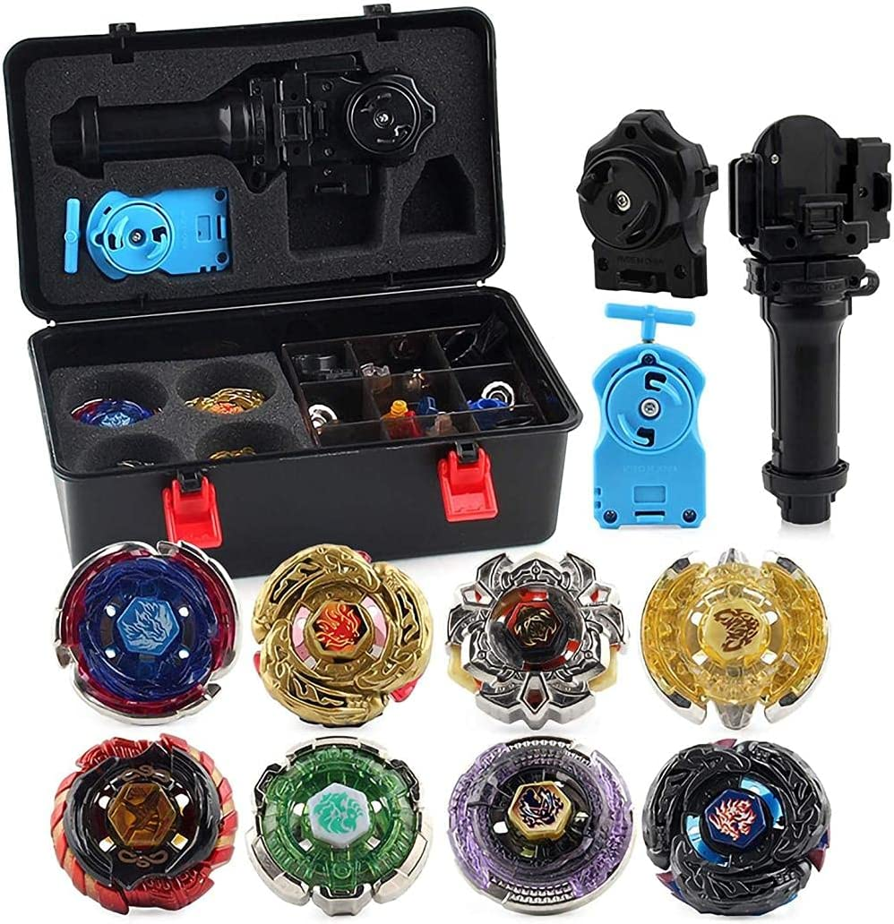 Beyblade Tripie 8 Pieces Speed Gyro Metal Combat Toupie Set 4D Fusion Model Combination with Transmitter and Handle Improve