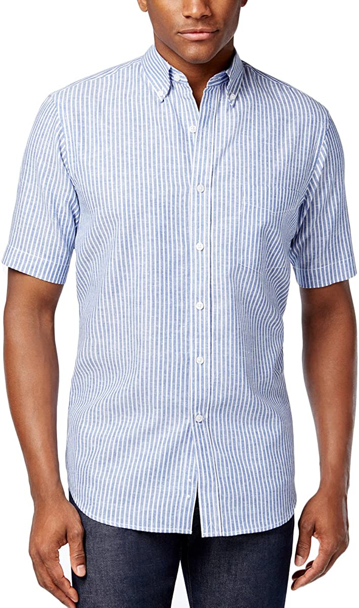 Club Room Mens Edgewood Striped Short Sleeve Dress Shirt XXX-Large Lazulite Blue