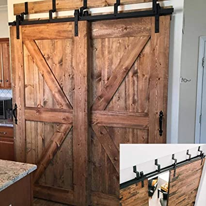 Hahaemall Antique Interior 4-18FT J-Shape Bypass Barn Door Hardware Sliding  Double Wooden - Amazon.com: Hahaemall Antique Interior 4-18FT J-Shape Bypass Barn