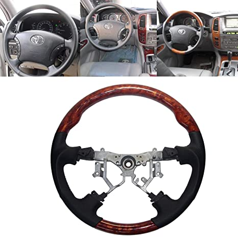 Amazon.com: Black Leather Brown Wood Steering Wheel Compatible for 2003-2009 Toyota 4Runner Highlander Sienna Tundra Camry Previa Estima Hilux: Automotive
