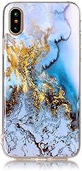 Girlscases® | iPhone XS Hülle, iPhone X / 10 Hülle Marmor Schutzhülle aus Silikon | Marmor/Marble Aufdruck/Motiv Glänzend Case/Hülle | Farbe: Blau/Gold / Weiß