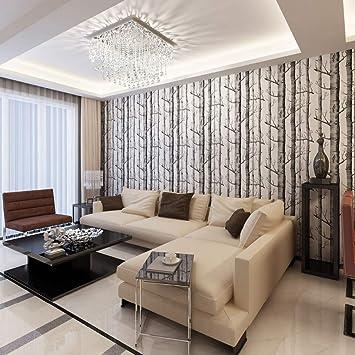 Schwarz Weiß Holz Wald Baum Textur 3D-geprägte Beflockung ...