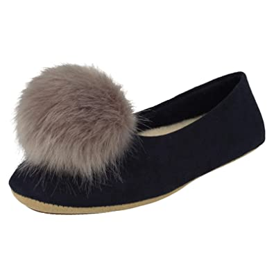 7a321373b15 Clarks Ladies Slippers with Pompom Cozily Warm - Navy Textile - UK Size 7D  - EU Size 41 - US Size 9.5M  Amazon.co.uk  Shoes   Bags