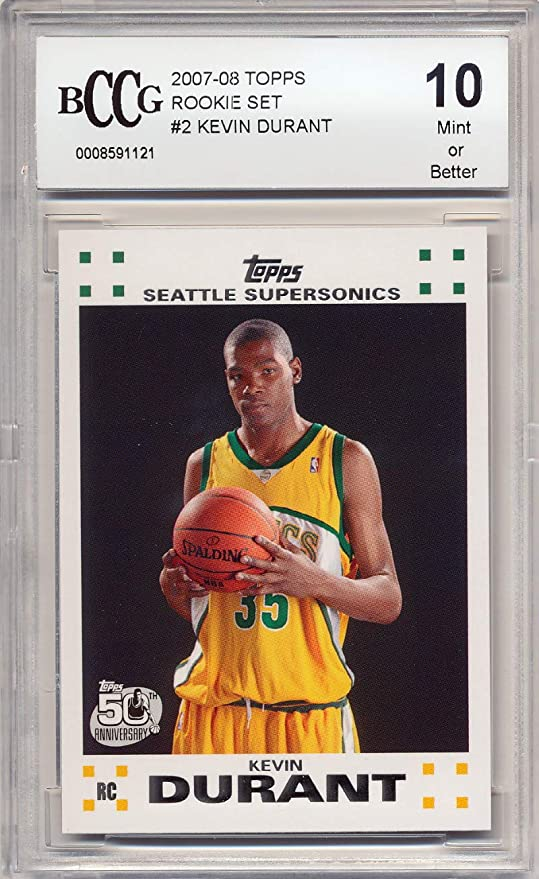 2007 08 Topps Rs 2 Kevin Durant Rookie Card Graded Bccg 10