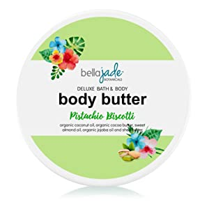 Whipped Body Butter Cream for Women - Organic & Natural Dry Skin Moisturizer Lotion | Luscious Pistachio Scent