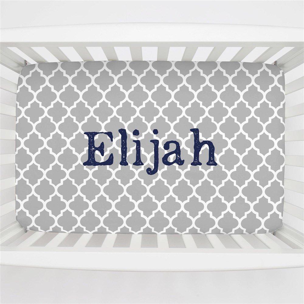 Carousel Designs Personalized Custom Silver Gray Hand Drawn Quatrefoil Mini Crib Sheet Elijah Idea - Organic 100% Cotton - Made in The USA by Carousel Designs