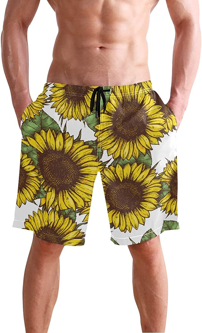 Mens Swim Trunks Sunflowers Designs Quick Dry Beach Board Shorts