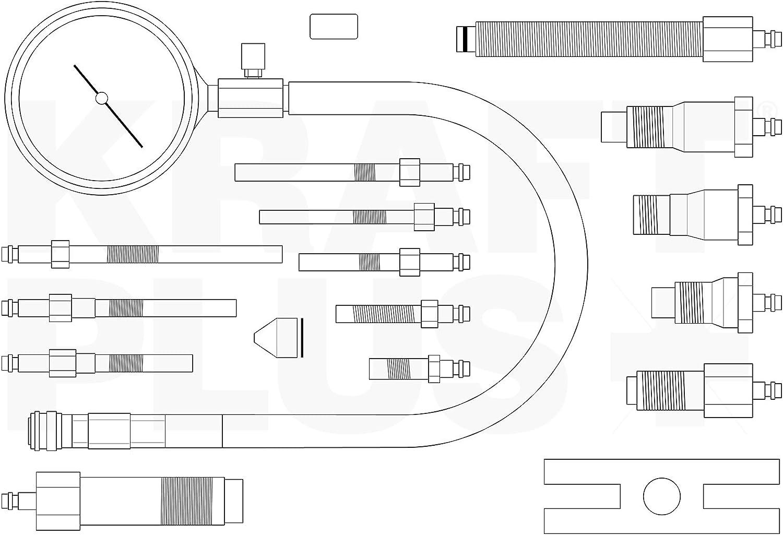 Kraft Plus/® k.286/ /19/PZ. /6266/kompressionstester per motori diesel auto//camion/