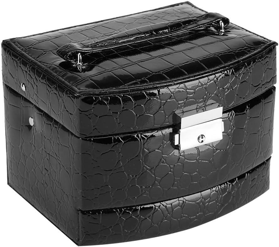 huhushop Caja de Joyería de 3 Capas con Espejo y Mango Caja Joyero para Collar Anillos Collar Broches Pulsera(Black)