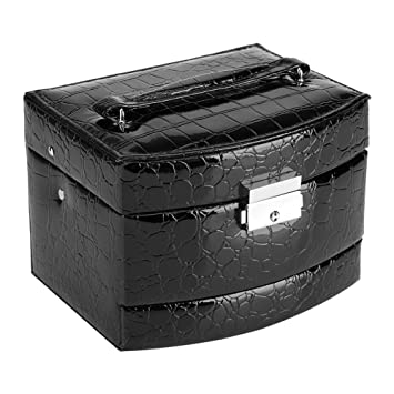 Caja de Joyería de 3 Capas con Espejo y Mango Caja Joyero para Collar Anillos Collar