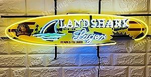 "Desung 32""x14"" Landshark Lager Surfboard Premium Island Style Neon Sign Light Lamp HD Vivid Printing Technology Handmade Beer Bar Pub Man Cave HD39"