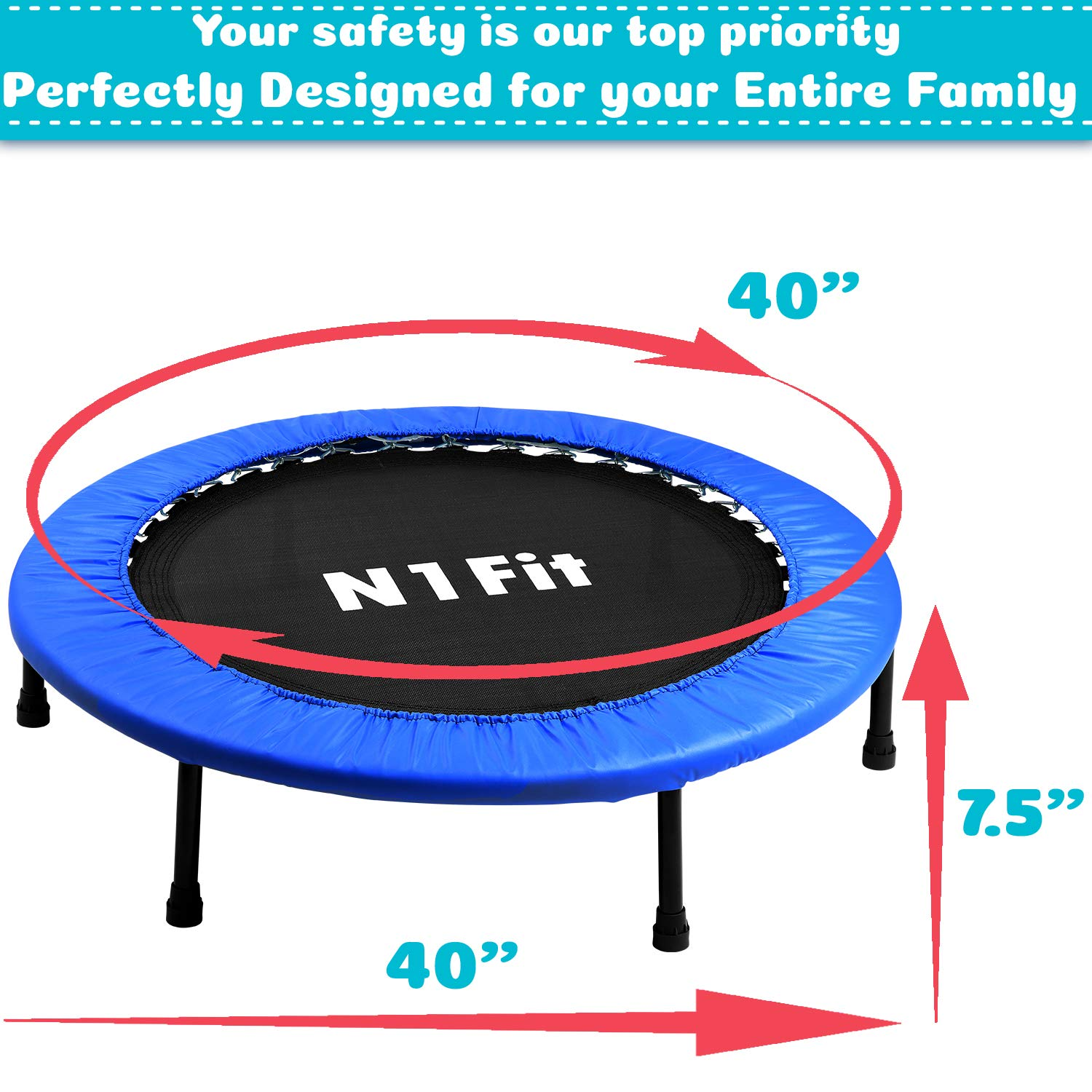 N1Fit Mini Trampoline for Adults - Exercise Trampoline, Mini Trampolines, Personal Trampoline, Trampoline Small Indoor, Rebounding Tiny Trampoline with Springs System for Home Cardio Workouts 40'' by N1Fit (Image #2)
