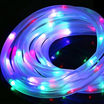 Amazon sogrand 100led 30ft solar rope light colorful leds sogrand 100led 30ftsolar rope lightcolorful ledssolar string lights waterproof aloadofball Choice Image