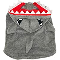 MEILIS Shark Costumes for Dogs and Cats Halloween Party Coat Daily Wearing Winter Hooded Sweater Blue,Grey