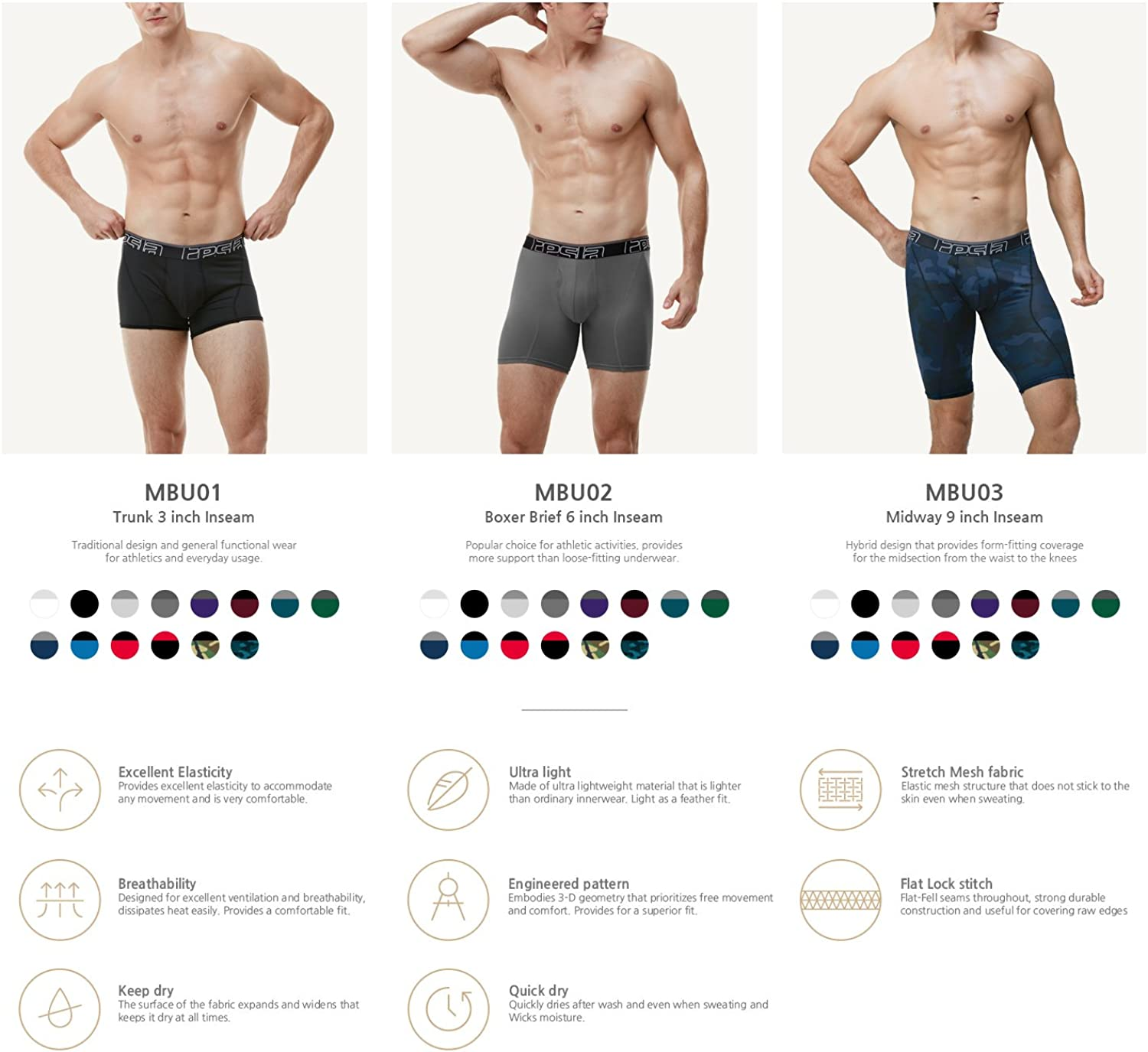 TSLA Men's (Pack of 2, 3) Relaxed Stretch 9 inches Cool Dry Brief Mesh Underwear Trunk: Clothing