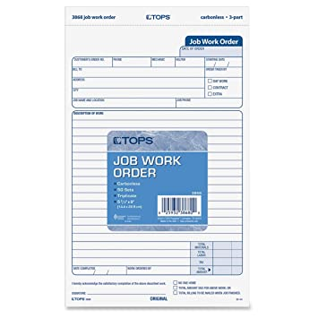 AmazonCom  Tops Job Work Order Forms Part Carbonless