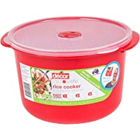 Decor Microsafe Microwave Rice Cooker and Vegetable Steamer, Red