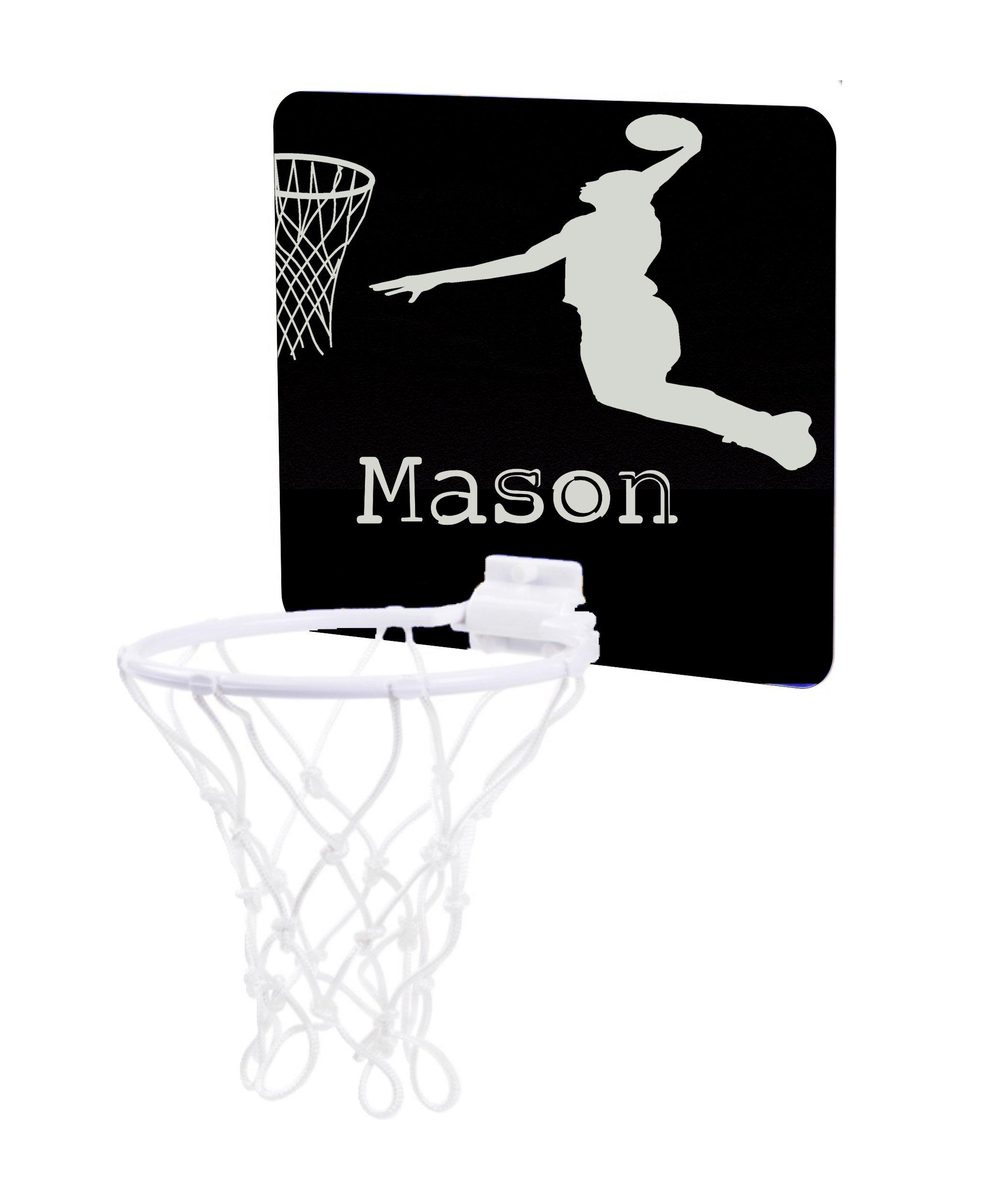 Jacks Outlet Basketball Player Silhouette - Custom Unisex Childrens 7.5'' x 9'' Mini Basketball Backboard - Goal with 6'' Hoop
