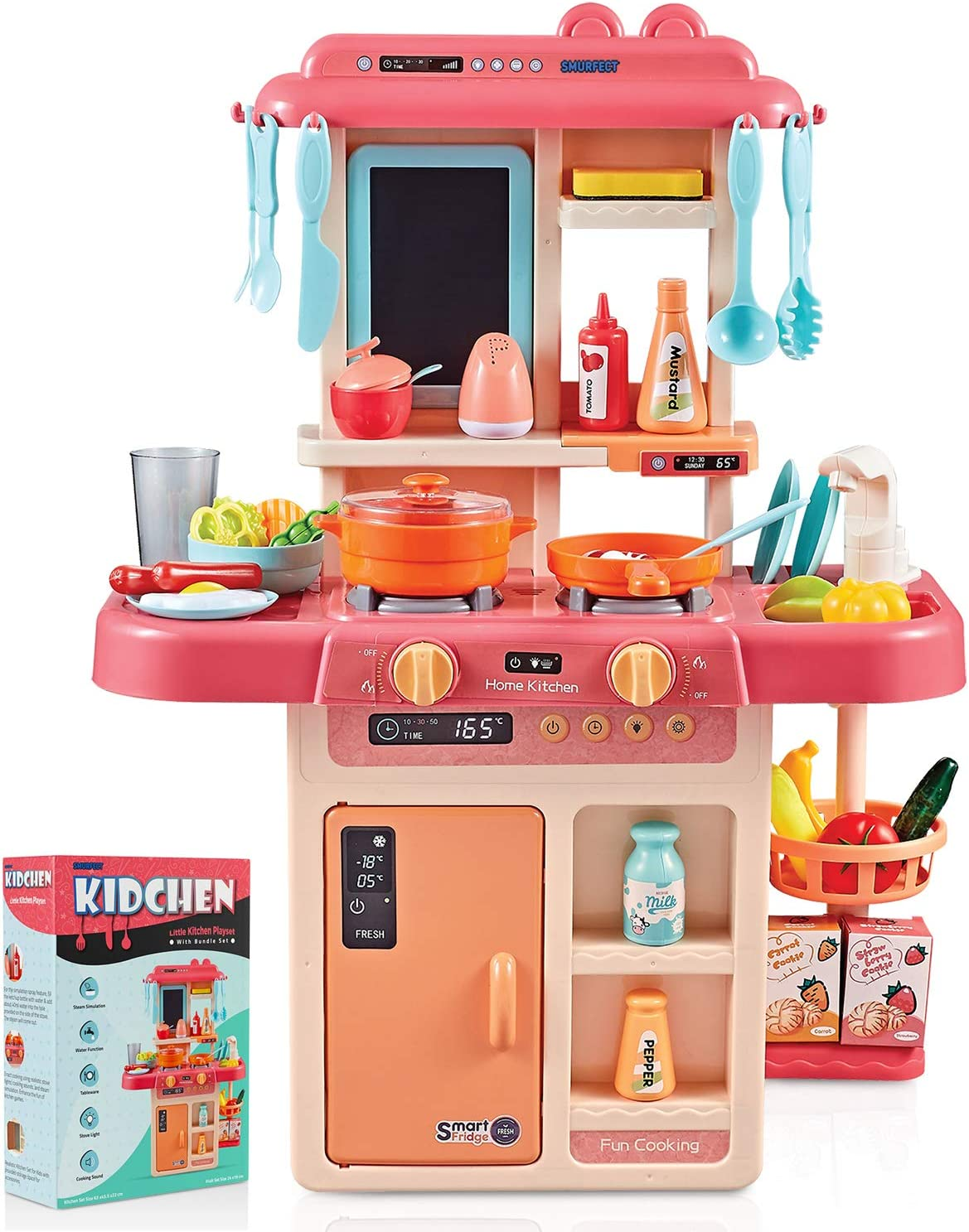 Amazon Com Smurfect Kitchen Play Set With Accessories Mini Realistic Light Sound Steam Simulation Indoor Games Cooking Playset Water Outlet Toys For Toddlers Children Girls