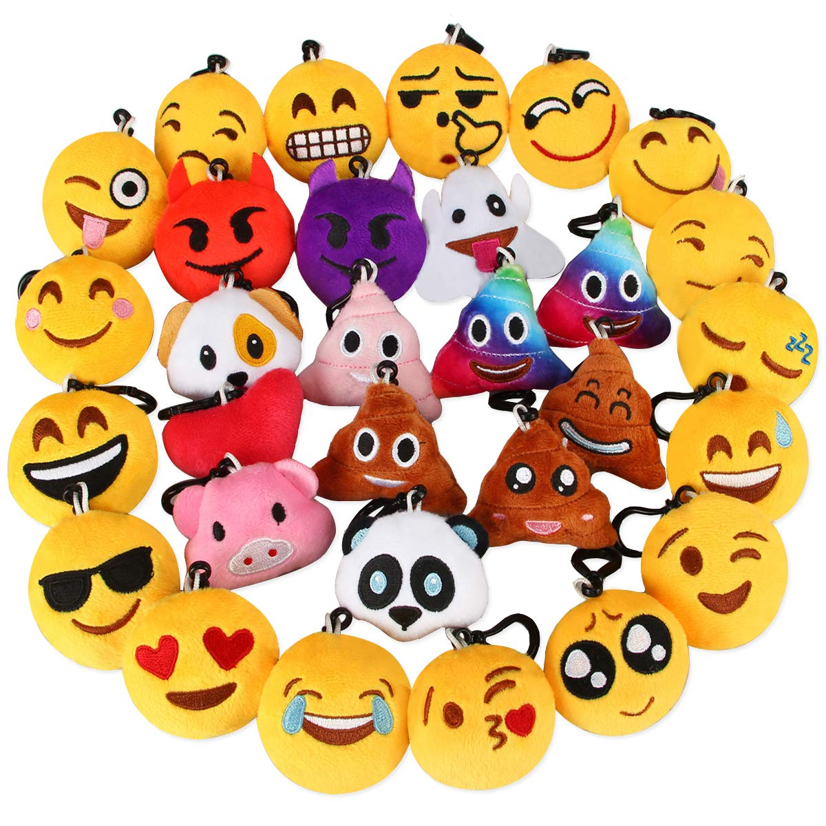 Dreampark Emoji Keychain, Emoji Key Chain Mini Plush Poop Pillows, Party Favors for Kids, Christmas / Birthday Party Supplies 2'' Set of 30 by Dreampark