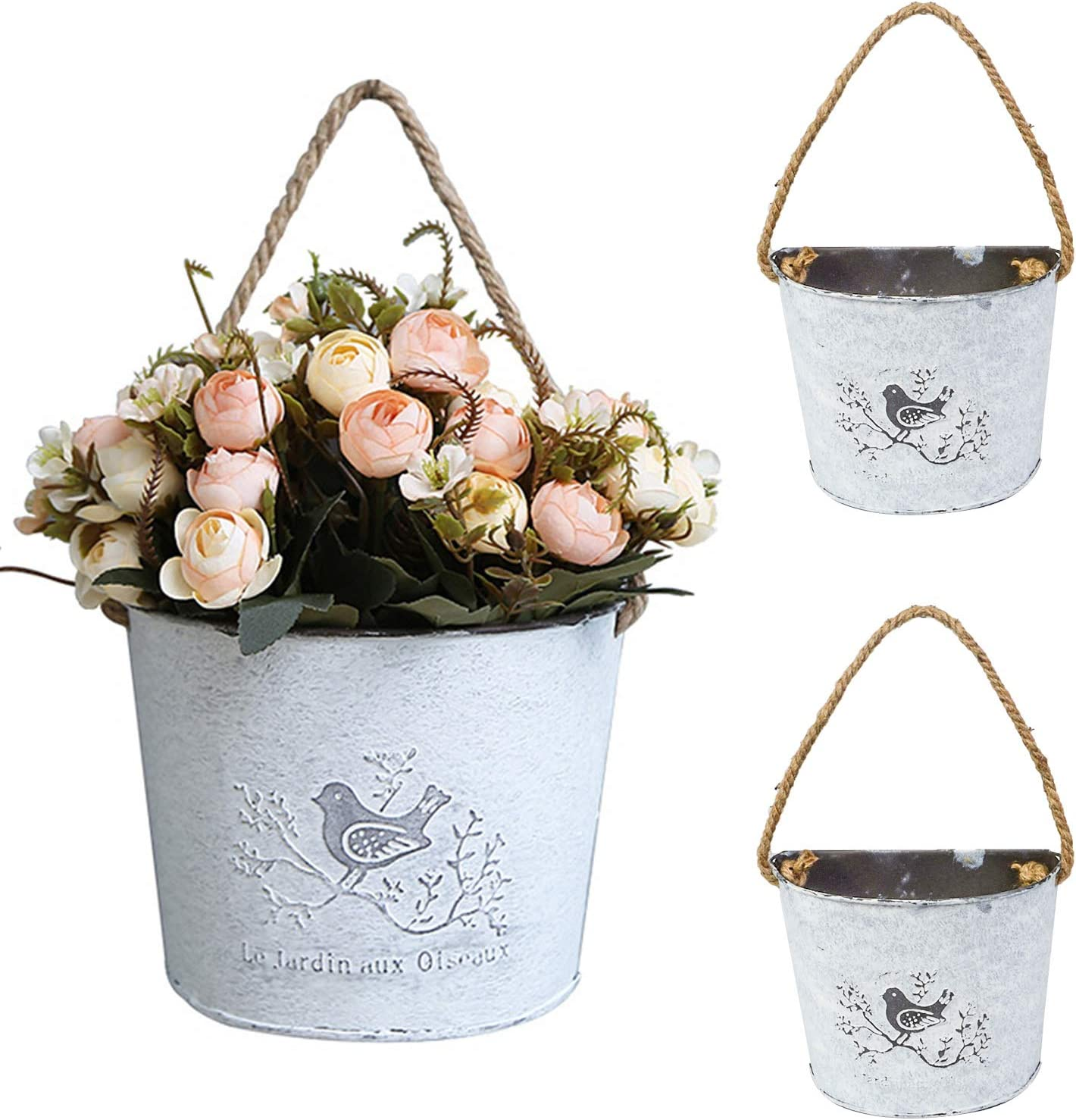 3sets Hanging Flower Basket - Galvanized Wall Planters Decor Hanging Holder/Vase for Farmhouse Decoration - Half Round Shape Flower Pots for Wall Mounted Indoor Outdoor Home Garden Decor