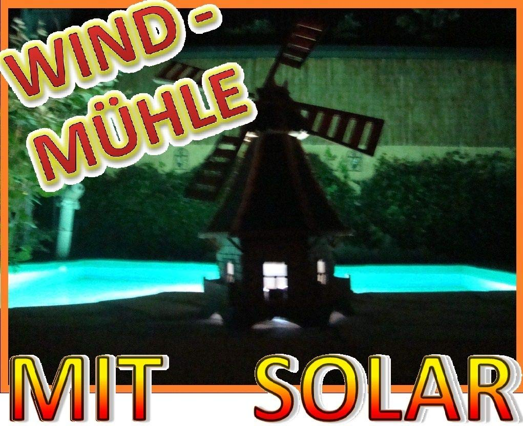 WMB130ro+bl-EMS mit guter Solar Beleuchtung f/ür Au/ßen 1,30 m gro/ß rot blau BTV Windm/ühle,Windm/ühle f/ür Garten windm/ühlen Garten