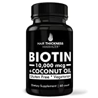 Biotin 10000mcg Vitamins with Organic Coconut Oil by Hair Thickness Maximizer. Hair...