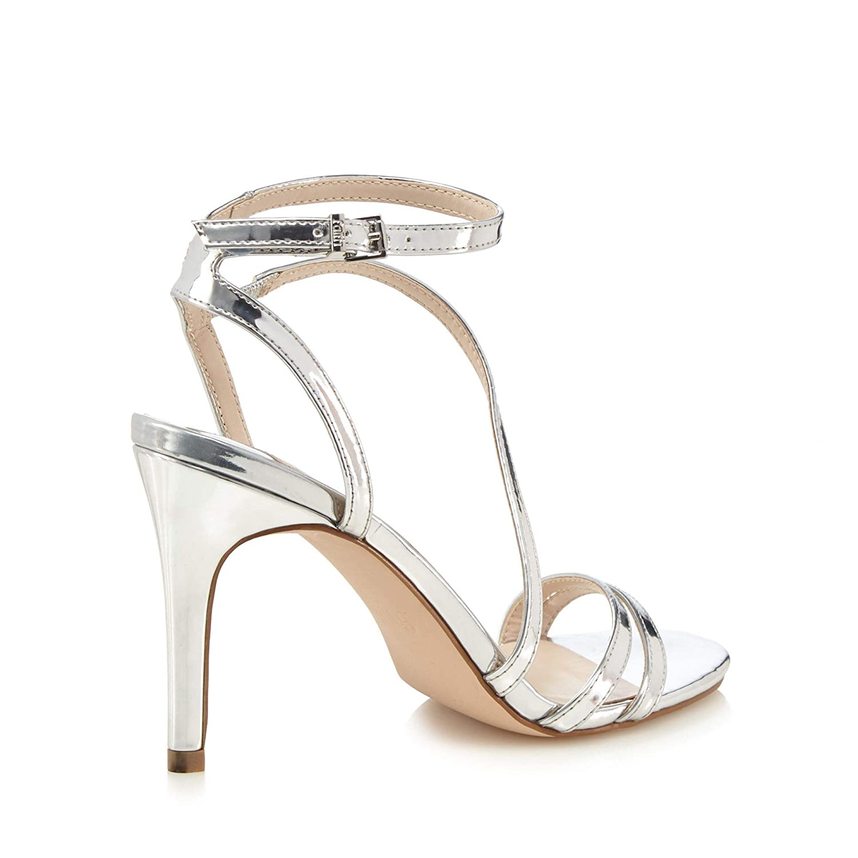 7bf856a2c8 Faith Womens Silver 'Delly' High Stiletto Heel Ankle Strap Sandals 3: Faith:  Amazon.co.uk: Clothing