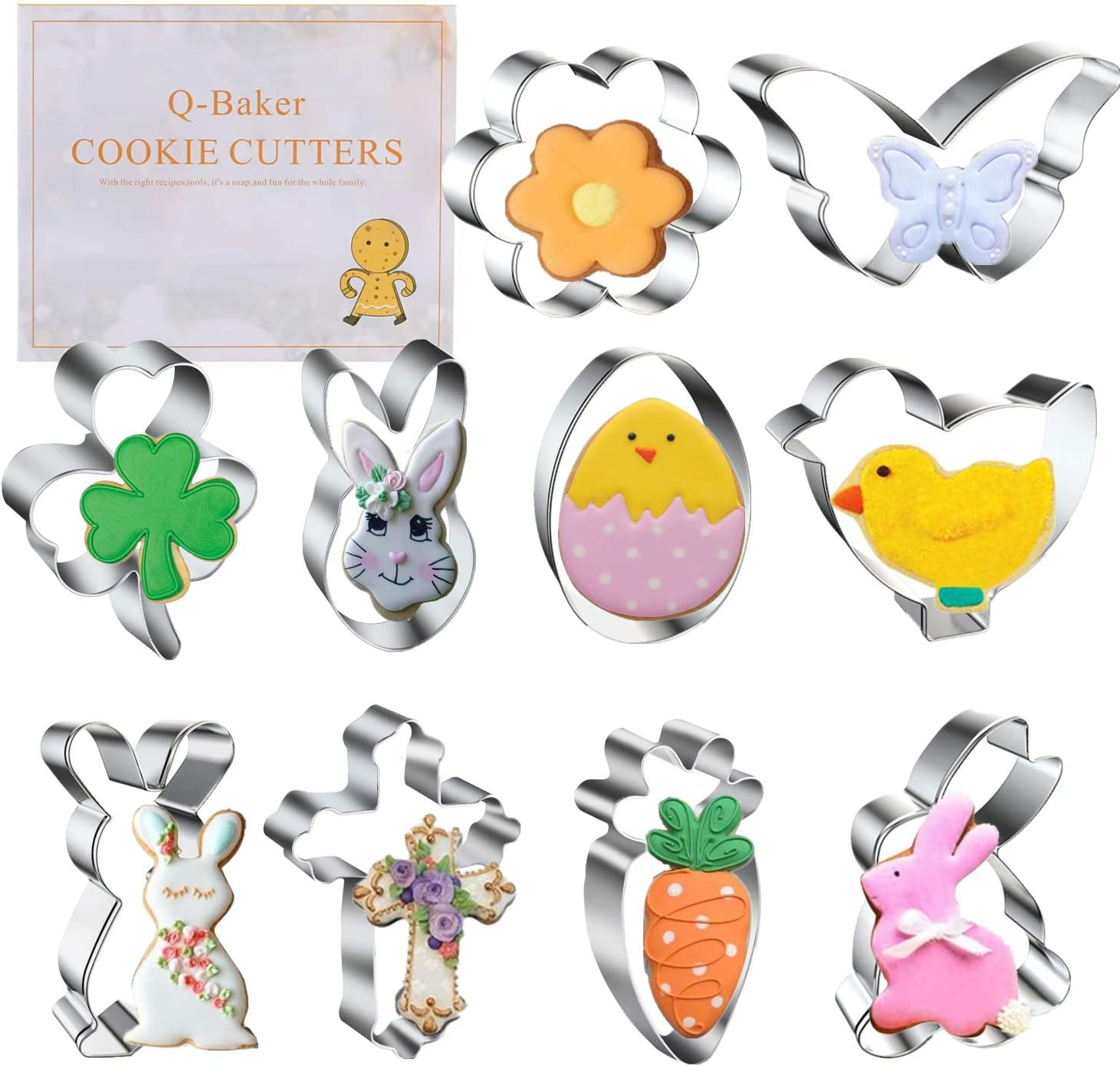 Cookie Cutters, Easter Cookie Cutter, 10 PCS Flower Butterfly Shamrock Clover Chick Carrot Egg Bunny Rabbite Cross Shapes Cookie Cutter