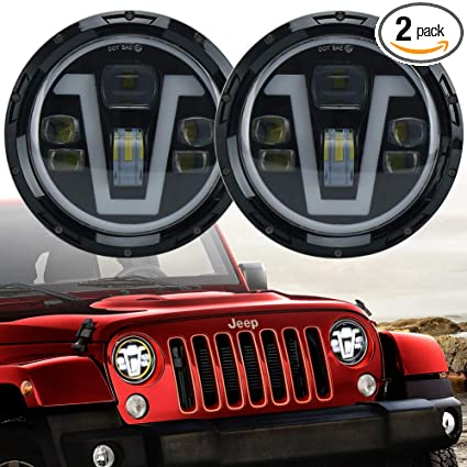 7 inch Jeep LED Headlights with Halos Turn Signal Lights V Type DRL Jeep Drl Halo Headlight Wiring Diagram on