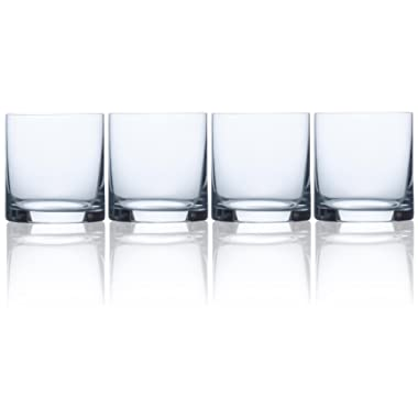 Circleware Soiree Heavy Base Whiskey Glass Drinking Glasses, Set of 4, Entertainment Dinnerware Glassware for Water, Juice, Beer Bar Liquor Dining Decor Beverage Cups Gifts, 14.8 oz, Bohemia DOF