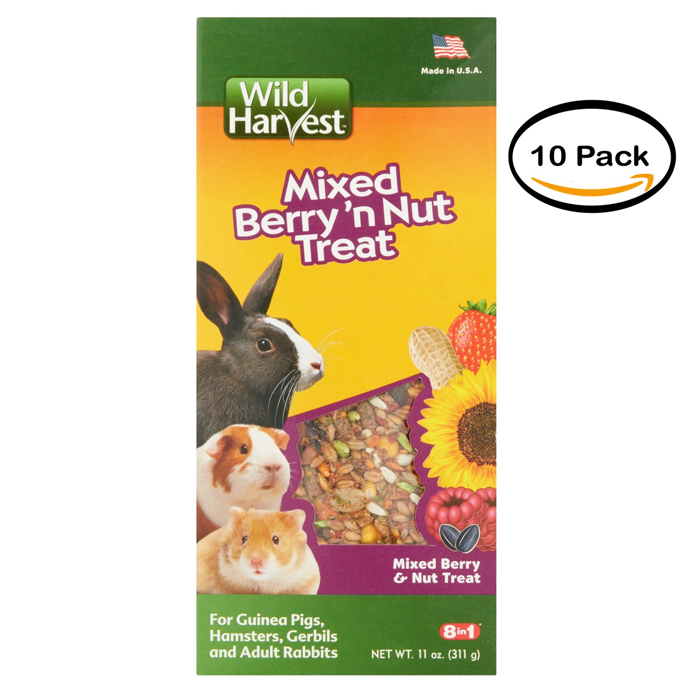 PACK OF 12 - 8In1 Pet Products: Treat For Small Animals Wild Harvest Mixed Berry & Nut Treat, 11 Oz