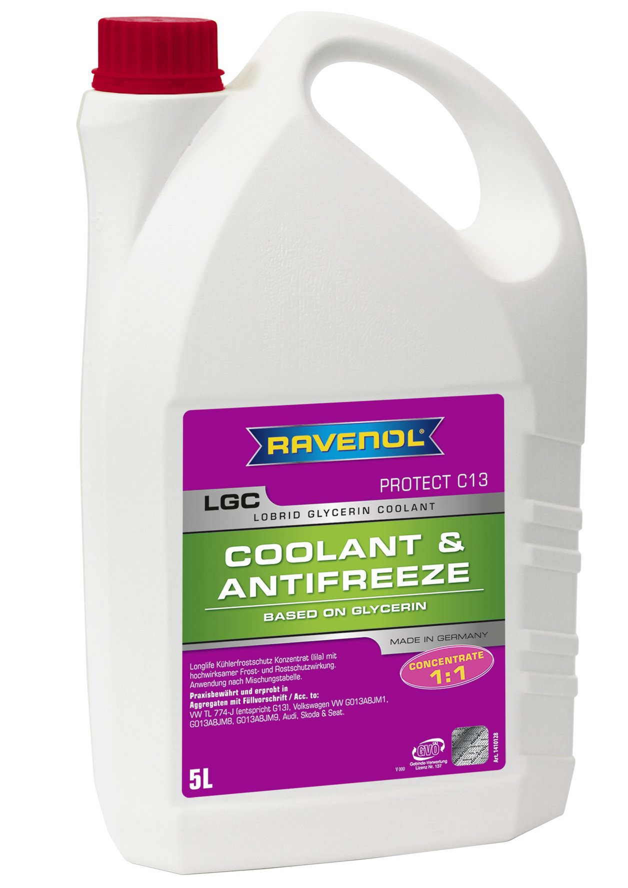 RAVENOL J4D2003 Coolant Antifreeze - LGC C13 Concentrate VW TL 774-J (G13) (5 Liter)