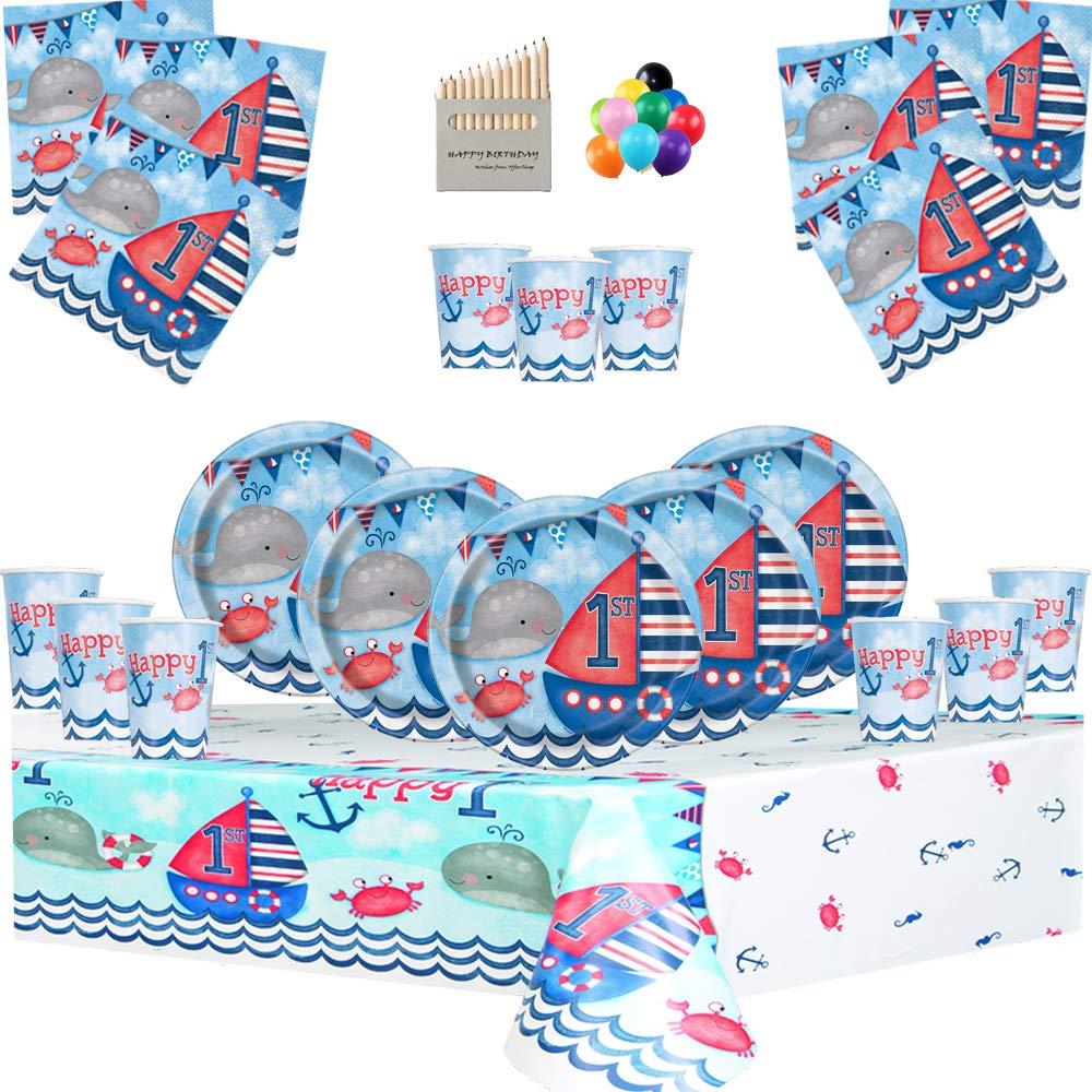 Nautical Party Supplies Artículos para Fiestas náuticas Juego de vajilla para niños de 1er cumpleaños para 32 Personas- Decoraciones para el Primer ...