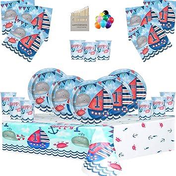 Nautical Party Supplies Artículos para Fiestas náuticas Juego de vajilla para niños de 1er cumpleaños para 16 Personas- Decoraciones para el Primer ...