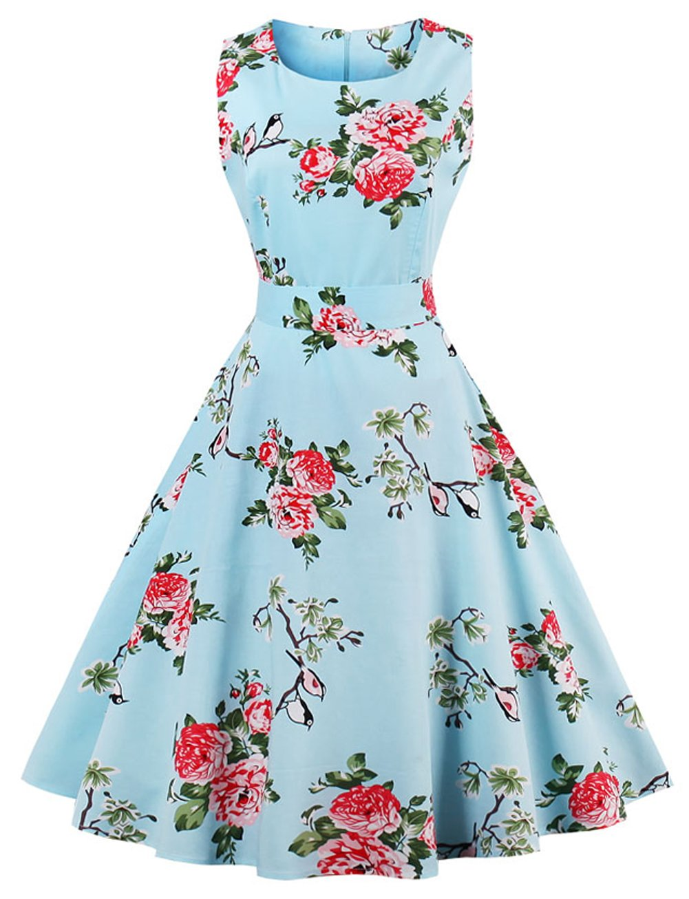 FAIRY COUPLE 50s Vintage Retro Floral Cocktail Swing Party Dress Bow DRT017