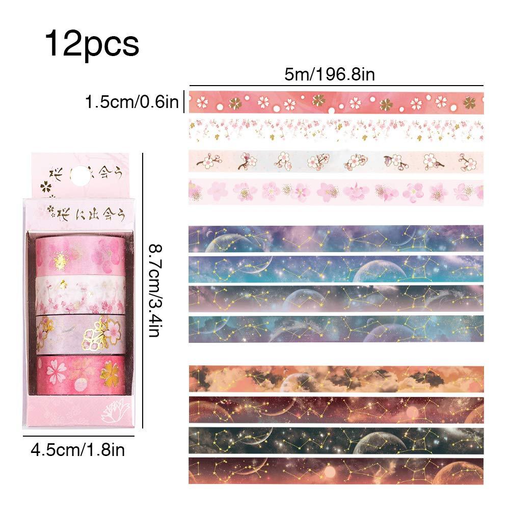 YXJKAI 12 Rotoli Nastri Colorati Carta Adesiva per Legno Colorata Washi Tape Nastro Adesivo per Decorativo per Artigianato,Fai-da-Te e Incartare Regali Nastro Carta Adesivo Colorato