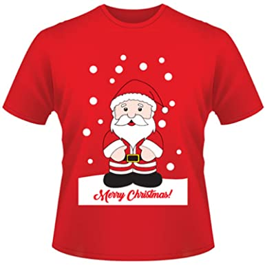 Mens Adult Christmas Xmas 100 Cotton T Shirt Top ColourRed Santa Clause Father