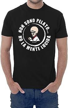 T-shirt uomo divertente NON SONO PELATO...HO LA MENTE LUCIDA - maglietta umoristica 100% cotone JHK_Fermento Italia