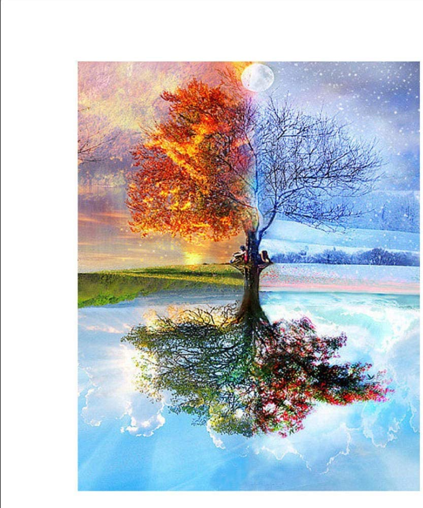 Knncch Paint by Numbers Kit Four Seasons Tree Scenery Pittura Digitale Fai-da-Te by Numbers Modern Wall Art Canvas Painting Decorazioni per la casa 40x50cm-With Frame